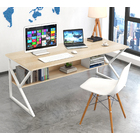 Kori Large Wood & Metal Computer Desk with Shelf (White)