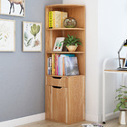 Aura Wooden Corner Shelf Unit with Cabinet & Drawer (Oak)