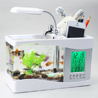 Desktop Aquarium USB Fish Tank/Alarm Clock/Lamp (White)
