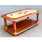 Deluxe Wooden Coffee Table with Patterned Top Living Room Furniture
