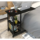 Supreme Sofa Bed Side Table Laptop Desk with Shelves & Wheels (Black)