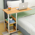 Supreme Sofa Bed Side Table Laptop Desk with Shelves & Wheels (Oak)