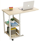 Supreme Sofa Bed Side Table Laptop Desk with Shelves & Wheels (White Oak)