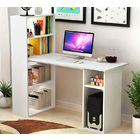 Combination Workstation Computer Desk with 6 Storage Shelves (White)