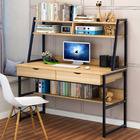 Enterprise Large Computer Desk Workstation with Shelves & Drawers (Oak)