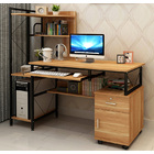 Prime Large Multi-function Computer Desk Workstation with Shelves & Cabinet (Oak)