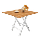 Grace Steel and Wood Folding Utility Table Square 80cm  (Natural Oak)