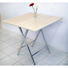 Grace Steel and Wood Folding Utility Table Square 80cm  (White Oak)