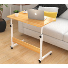 Superb Adjustable Portable Sofa Bed Side Table Laptop Desk with Wheels (Oak)