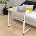 Superb Adjustable Portable Sofa Bed Side Table Laptop Desk with Wheels (White Oak)