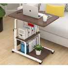 Radiance Sofa Bed Side Table Laptop Desk with Shelves & Wheels (Dark Hazelnut)