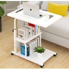 Radiance Sofa Bed Side Table Laptop Desk with Shelves & Wheels (White)