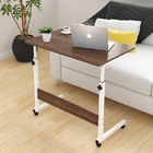 Superb Adjustable Portable Sofa Bed Side Table Laptop Desk with Wheels (Dark Hazelnut)