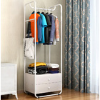 Spacious Coat Stand Wardrobe Clothing Rack with Chest of Drawers (White)
