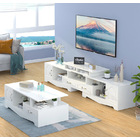 2-Piece Set Royal Coffee Table & Adjustable TV Cabinet