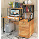 Everest Large Multi-function Computer Desk Workstation with Shelves & Cabinet (Oak)