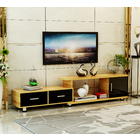 Luxe Extendable TV Cabinet (High Gloss Oak & Black)