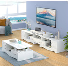 2-Piece Set Royal Luxury Coffee Table & Adjustable TV Cabinet