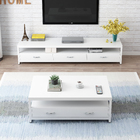 2-Piece Set Athena Coffee Table & TV Cabinet with Drawers (White)