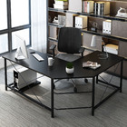 Prestige High Gloss Corner Computer Desk Office Double Workstation (Black)