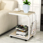 Sofa Bed Side Table Laptop Desk with Magazine Rack and Wheels (White Oak)