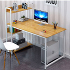 Edge Combination Workstation Computer Desk with Storage Shelves (Oak)