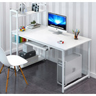 Edge Plus Combination Workstation Computer Desk with Storage Shelves (White)