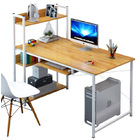 Exceeder II Large Workstation Wood & Steel Computer Desk with Storage Shelves (Oak)