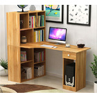 Combination Workstation Computer Desk with 9 Storage Shelves (Oak)