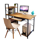 Exceeder II Workstation  Wood & Steel Computer Desk with Storage Shelves (Natural Oak)