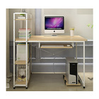 Exceeder II Workstation  Wood & Steel Computer Desk with Storage Shelves (White Frame)