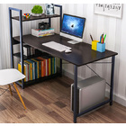 Exceeder Large Workstation Wood & Steel Computer Desk with  Bookcase (Black)