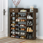 Maxim 7 Tier Shoe Rack Storage Organizer with Drawer (Dark Walnut)