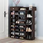 Maxim 8 Tier Shoe Rack Storage Organizer with Drawer (Dark Walnut)