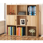 9 Shelving 2 Door Deluxe Bookshelf Display Cabinet Shelf Closet Organizer (Oak)