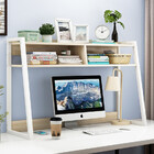 Zion Versatile Desk Hutch Storage Shelf Unit Organizer -Large (White Oak)