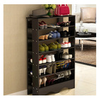 Spacious & Stylish 6 Tier Wooden Shoe Rack Organizer (Black Wood)