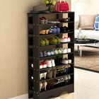 Spacious & Stylish 7 Tier Wooden Shoe Rack Organizer (Black Wood)