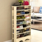 Spacious & Stylish 7 Tier Wooden Shoe Rack Organizer (White Oak)