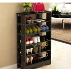 Spacious & Stylish 5 Tier Wooden Shoe Rack Organizer (Black Wood)