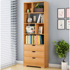 Luna 1.8m Tall Shelf Cupboard Bookshelf Wardrobe with Drawers (Natural Oak)