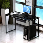 Simple Wood & Metal Computer Desk (Black)