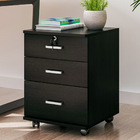 Miami 3 Drawer Bedside Table with Wheels (Black Wood)