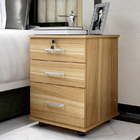 Miami 3 Drawer Bedside Table Cabinet with Wheels (Natural Oak)