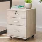 Miami 3 Drawer Bedside Table Cabinet with Wheels (White Oak)