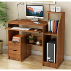 Malibu Deluxe Computer Desk with Drawers and Shelves (Walnut)