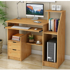 Malibu Deluxe Computer Desk with Drawers and Shelves (Natural Oak)