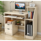 Malibu Deluxe Computer Desk with Drawers and Shelves (White Birch)