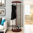Contemporary High Gloss Wood & Steel Coat Stand with Wheels (Redwood)