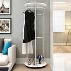 Contemporary High Gloss Wood & Steel Coat Stand with Wheels (White)